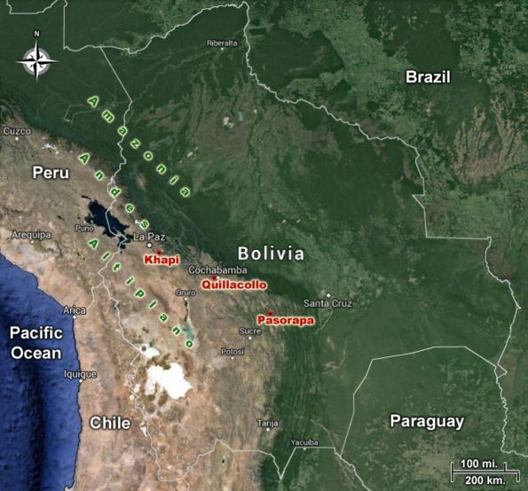 Map of Bolivia Locations for this website