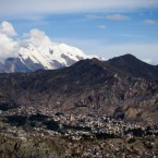 Mount Illimani with the city of La Paz in the foreground.